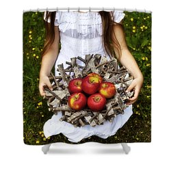 Girl With Apples Shower Curtain by Joana Kruse