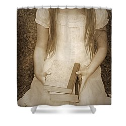 Girl With Books Shower Curtain by Joana Kruse