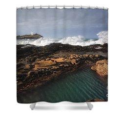 Godrevy Lighthouse In Cornwall, England Shower Curtain by Arild Heitmann
