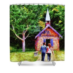 Going To The Chapel Shower Curtain by Jai Johnson