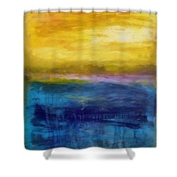Gold And Pink Sunset Ll Shower Curtain by Michelle Calkins