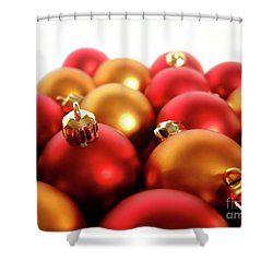 Gold And Red Xmas Balls Shower Curtain by Carlos Caetano