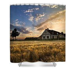 Golden Evening Shower Curtain by Debra and Dave Vanderlaan