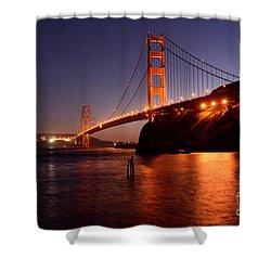 Golden Gate Bridge At Night 2 Shower Curtain by Bob Christopher