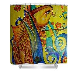 Golden Koi Shower Curtain by Sandro Ramani