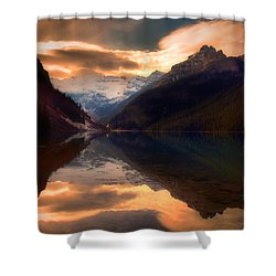 Golden Light On The Rockies Shower Curtain by Tara Turner