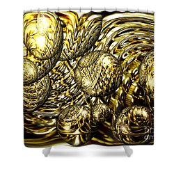 Golden Orbs Shower Curtain by Cheryl Young