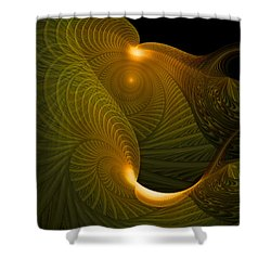 Golden Waves Shower Curtain by Amanda Moore