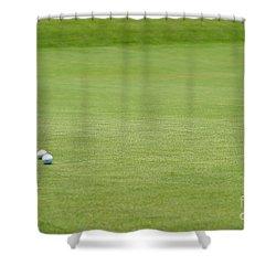 Golf Balls Near Flagstick Shower Curtain by Henrik Lehnerer
