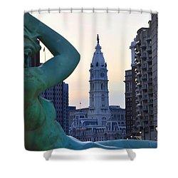 Good Morning Philadelphia Shower Curtain by Simon Wolter