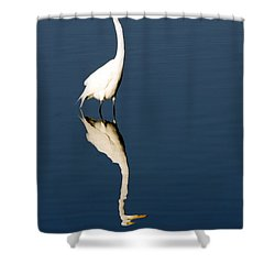 Great Egret Reflected Shower Curtain by Sally Weigand