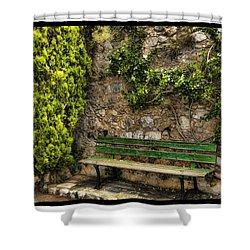 Green Bench Shower Curtain by Mauro Celotti