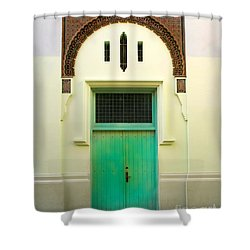 Green Spanish Doors Shower Curtain by Perry Webster