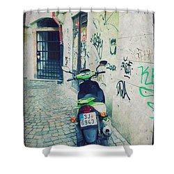 Green Vespa In Prague Shower Curtain by Linda Woods