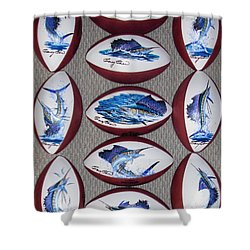Gridiron Trophies Shower Curtain by Carey Chen