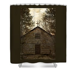 Grungy Hand Hewn Log Chapel Shower Curtain by John Stephens