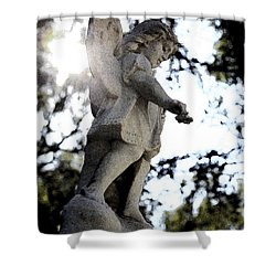 Guardian Angel With Light From Above Shower Curtain by Nina Prommer