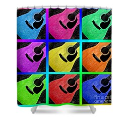 Guitar Tic Tac Toe Rainbow Shower Curtain by Andee Design