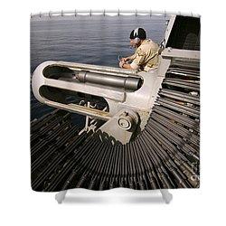 Gunner Manning A Mk-38 25mm Heavy Shower Curtain by Stocktrek Images