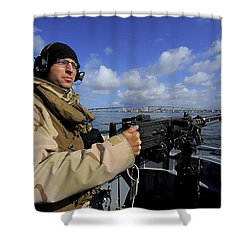Gunners Mate Mans An M2 Hb .50-caliber Shower Curtain by Stocktrek Images