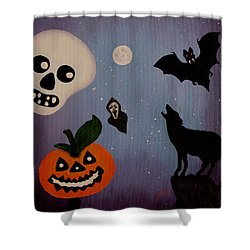 Halloween Night Original Acrylic Painting Placemat Shower Curtain by Georgeta  Blanaru