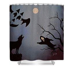 Halloween Night Party Original Painting Placemat Doormat Shower Curtain by Georgeta  Blanaru