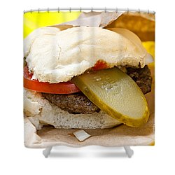 Hamburger With Pickle And Tomato Shower Curtain by Elena Elisseeva