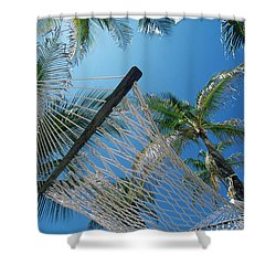 Hammock And Palm Tree, Great Barrier Shower Curtain by Ron Watts