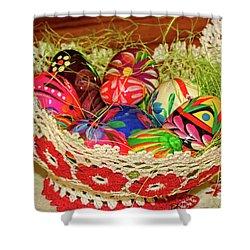 Happy Easter Basket Shower Curtain by Mariola Bitner