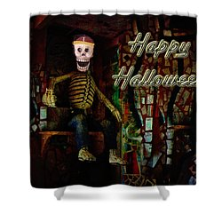 Happy Halloween Skeleton Greeting Card Shower Curtain by Mother Nature