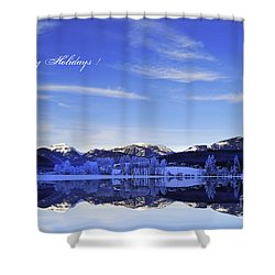 Happy Holidays Shower Curtain by Sabine Jacobs