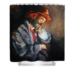 Happy While He Dreams Shower Curtain by Natalia Tejera
