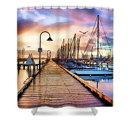 Harbor Town Shower Curtain by Tom Schmidt