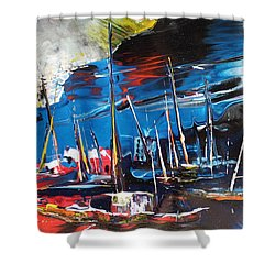 Harbour In Spain Shower Curtain by Miki De Goodaboom
