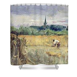 Harvest Field At Stratford Upon Avon Shower Curtain by John William Inchbold