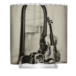 Hat And Fiddle Shower Curtain by Bill Cannon