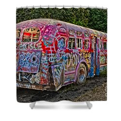 Haunted Graffiti Bus II Shower Curtain by Susan Candelario