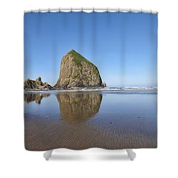 Haystack Rock 3 Shower Curtain by Mauro Celotti