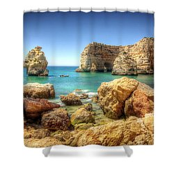 Hdr Rocky Coast Shower Curtain by Carlos Caetano