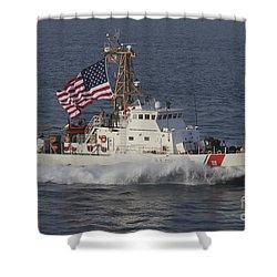 He U.s. Coast Guard Cutter Adak Shower Curtain by Stocktrek Images