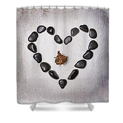 Heart With Rose Shower Curtain by Joana Kruse