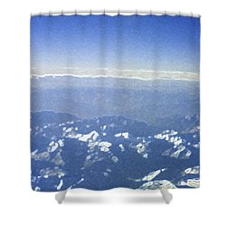 Himalayas Blue Shower Curtain by First Star Art