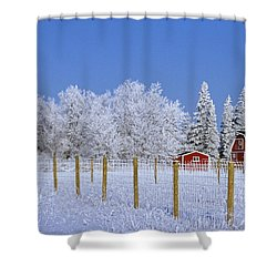 Hoarfrost On Trees Around Red Barns Shower Curtain by Mike Grandmailson
