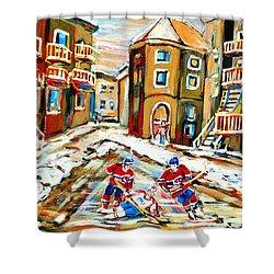 Hockey Art Hockey Game Plateau Montreal Street Scene Shower Curtain by Carole Spandau
