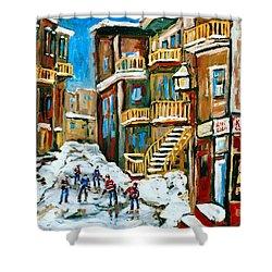 Hockey Art In Montreal Shower Curtain by Carole Spandau