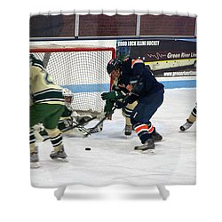Hockey One On Four Shower Curtain by Thomas Woolworth