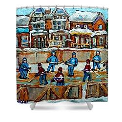 Hockey Rink Montreal Street Scene Shower Curtain by Carole Spandau
