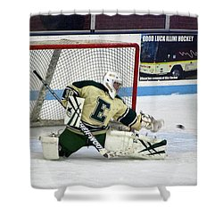 Hockey The Big Reach Shower Curtain by Thomas Woolworth