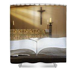 Holy Bible In A Church Shower Curtain by John Short