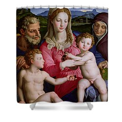 Holy Family With St Anne And The Infant St John The Baptist Shower Curtain by Agnolo Bronzino